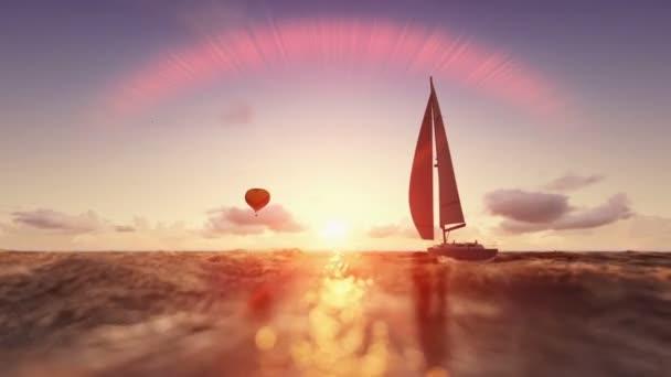 Sunrise letní scény, balón a jachtu plachtění, Přelet nad mořem