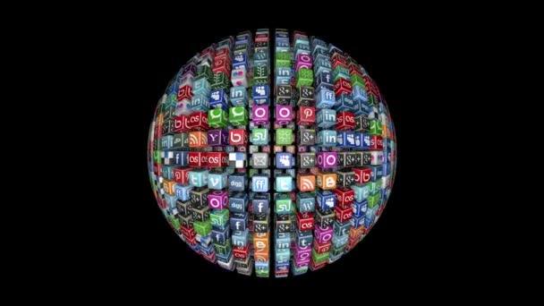 Sociální sítě ikony koule, černá