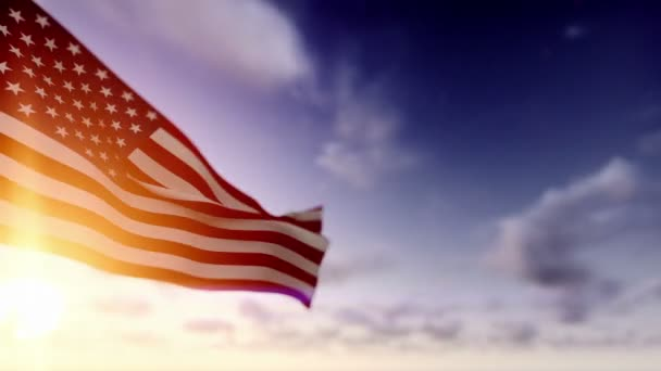American Flag against Time Lapse Clouds