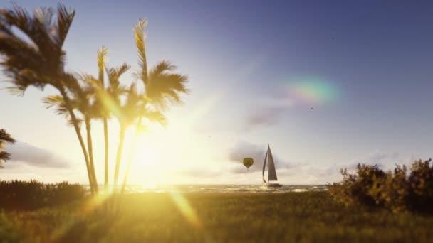 Letní scéna, balón a jachtu plachtění, timelapse východu do odpoledne