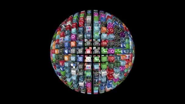 Sociální sítě, animované ikony, černá