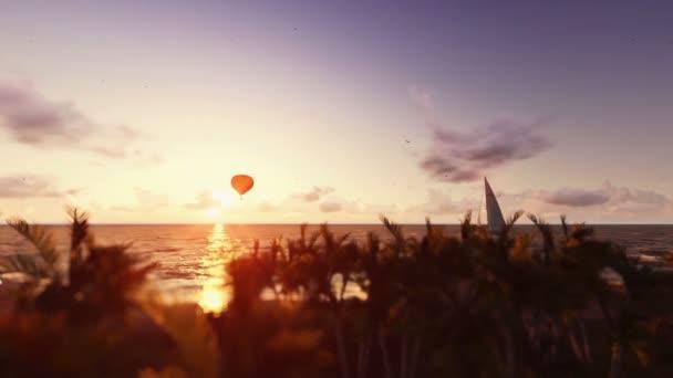 Západ slunce letní scénu, lidé na pláži, balón a jachtu plachtění,-nakloněná rovina
