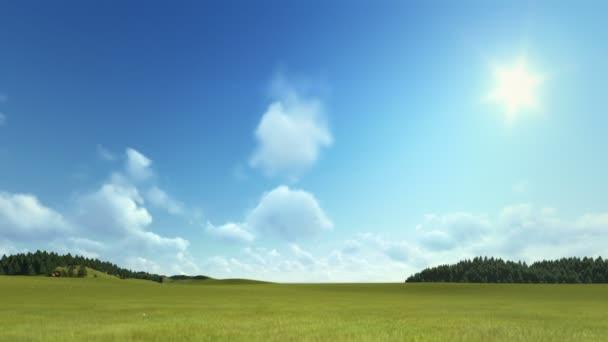 Zelená louka s timelapse mraky