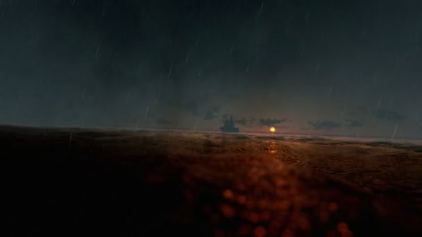 Rybářské lodi v rozbouřeném oceánu, prší při západu slunce, létají nad