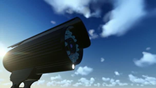 Outdoor Surveillance Camera, timelapse clouds, sun shinning