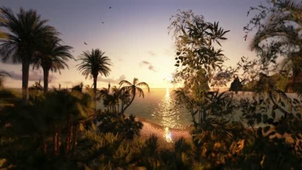 Trópusi szigeten és vitorlás yacht, timelapse naplemente, fly over