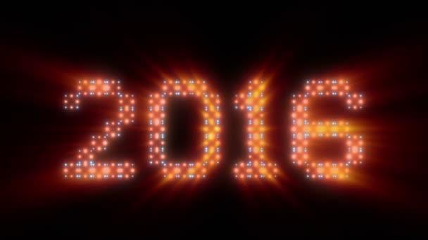 Új év 2016-ban szöveg, animációs fények, ragyog