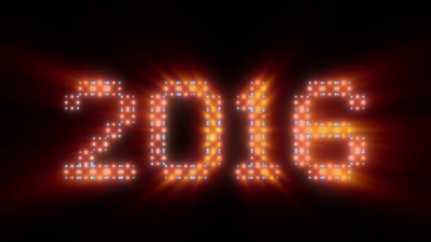 Nový rok 2016 text, animovaná světla, lesk