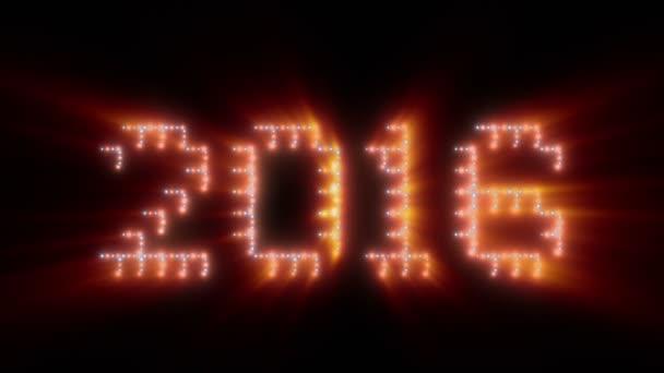 Új év, 2016-ban szöveg, animációs fények, ragyog