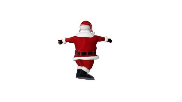 Santa rotující šťastný, proti bílé