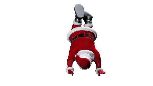 Santa Claus na lyžích vzhůru nohama, proti bílé