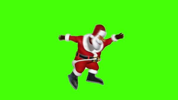 Santa springen, gymnastische Bewegungen, Chroma-Key