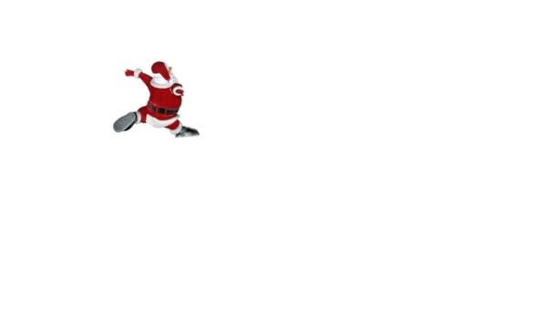 Santa Claus tun, einen lustigen Tanz gegen weiß