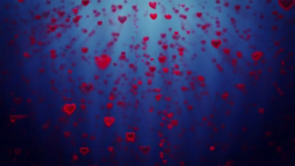 Holiday hearts rising, against blue