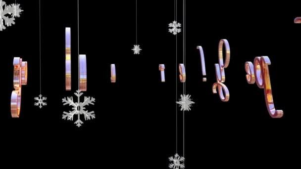 Šťastný nový rok titul s plovoucí papírové vločky, proti černé