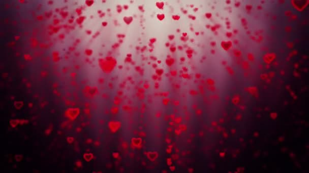 Holiday hearts rising, against red