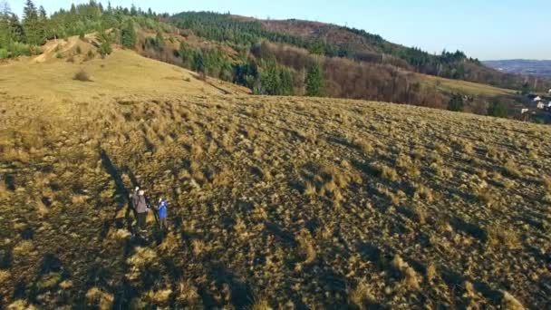 Father and son spending time in nature, aerial view