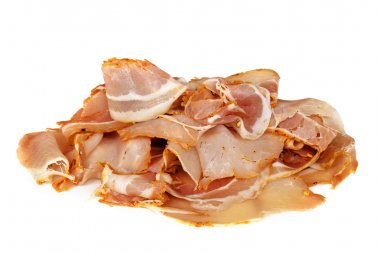 Pancetta, sliced, isolated on white.  Delicious traditional spicy cured pork. stock vector