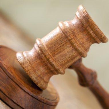 Gavel Closeup with Blurred Background