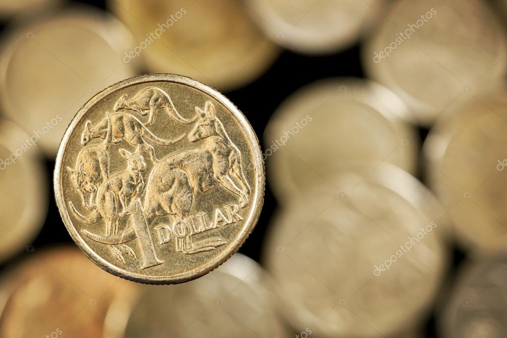 Australische Dollar Münze über Goldenen Hintergrund Jedoch Unscharf