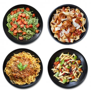 Pasta collage of meals on black plate, isolated on white.  Overhead view.  Includes spaghetti, fettucine, penne and ribbon. stock vector