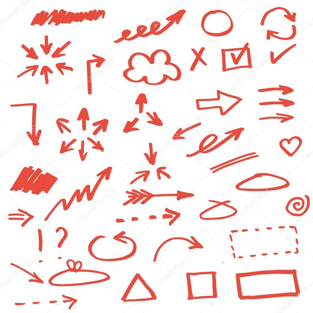 Set of hand drawn arrows