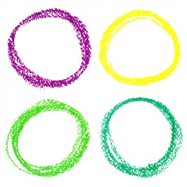 Set of Mardi Gras circle spots of pastel crayon, isolated on white background