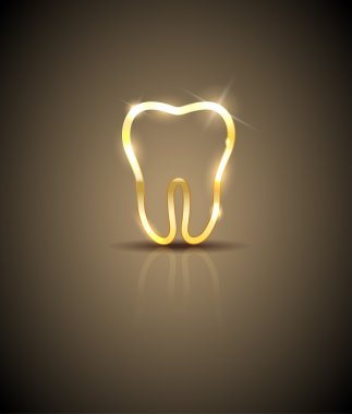 Beautiful golden shiny tooth silhouette illustration