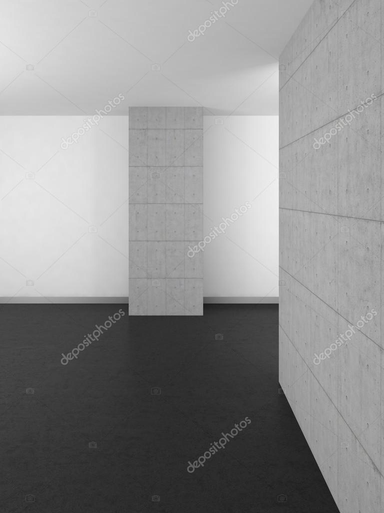 lege moderne badkamer met concrete muren en donkere vloeren ...