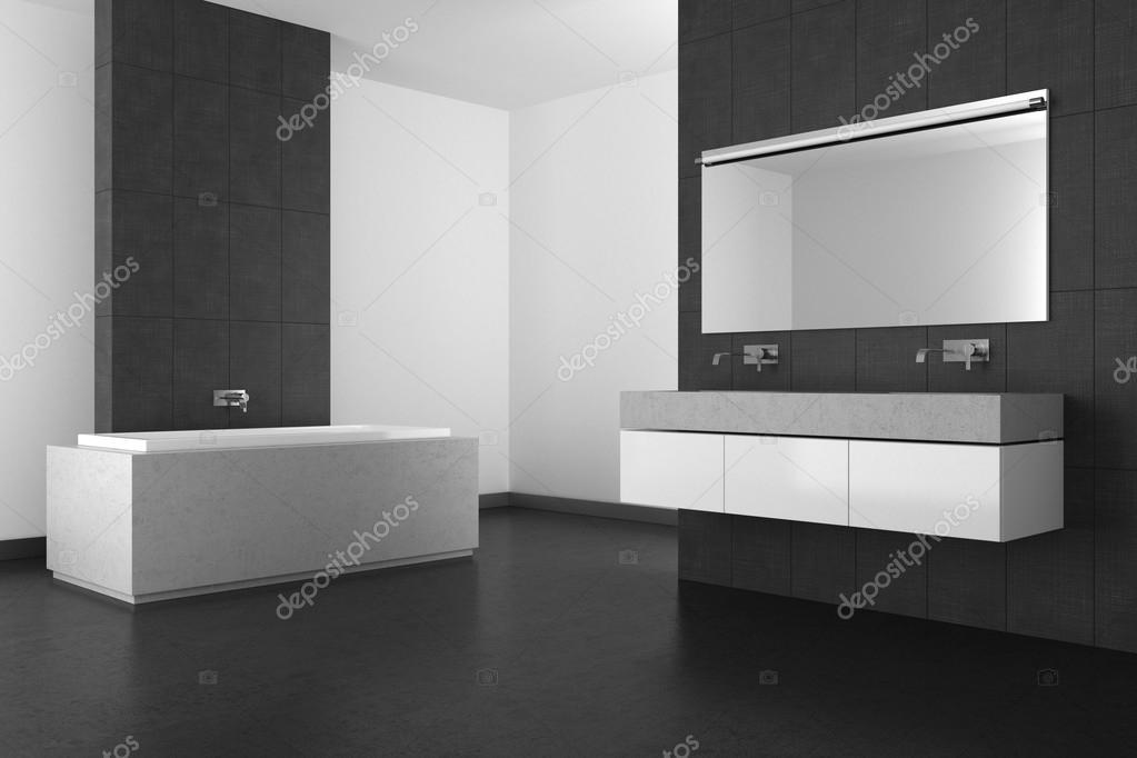 moderne badkamer met grijze tegels en donkere vloer — Stockfoto ...