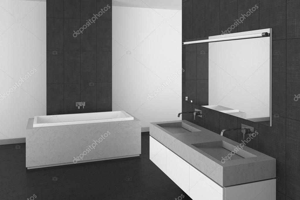 Moderno cuarto de ba o con suelo y azulejos gris oscuro for Azulejos suelo bano