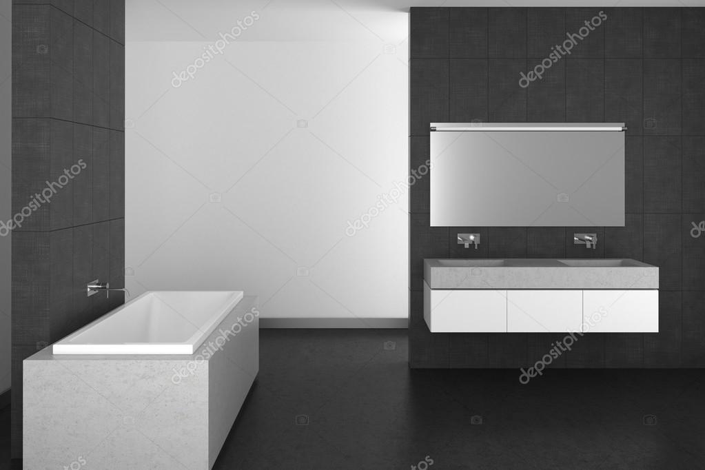 Modernes Badezimmer Mit Grauen Fliesen Und Dunklen Boden Stockfoto