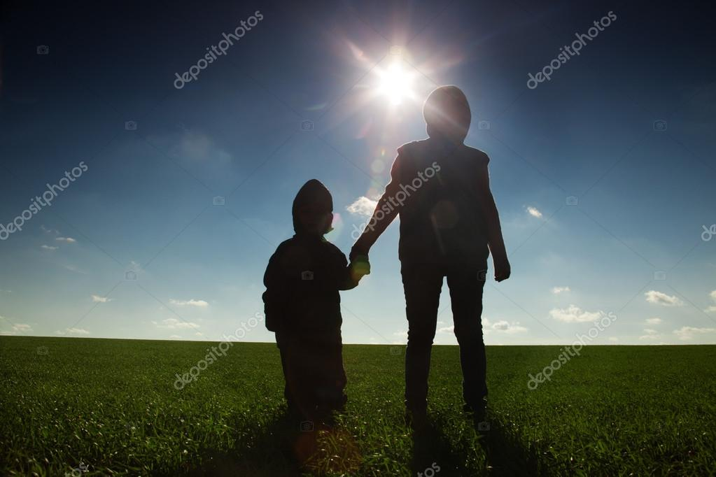 family outdoor   on sunset background