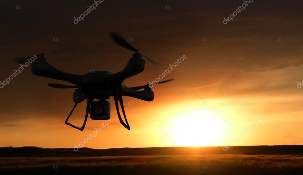 3d render quadrocopters silhouette in the background. radio-cont