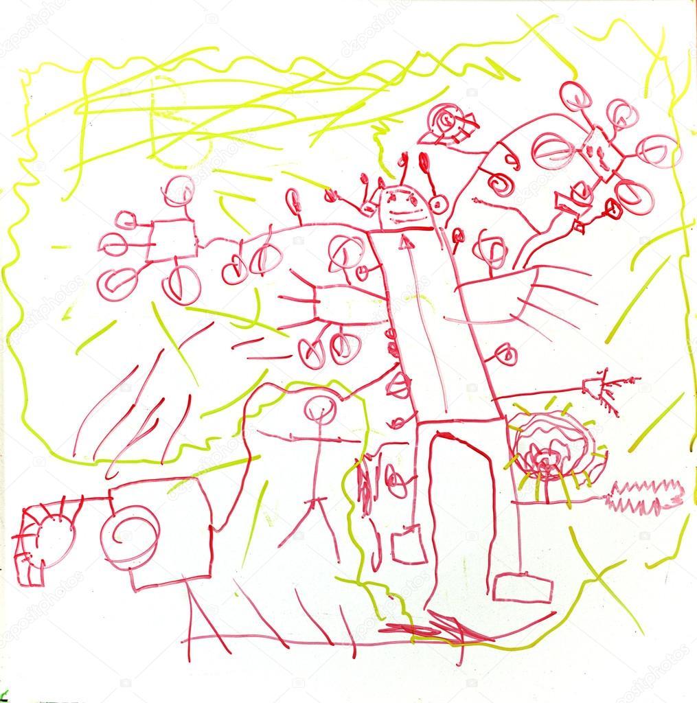 Boy Nakreslil Robota Detske Kresby Alien Stock Fotografie
