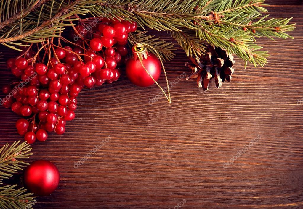 Christmas tree ornaments and viburnum berries