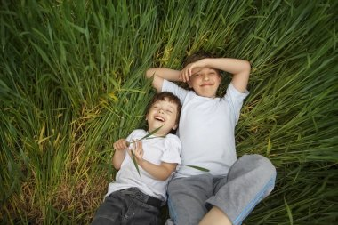 two happy boy lay in grass