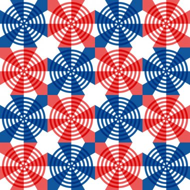 Red, white and blue stars and stripes in a festive seamless pattern