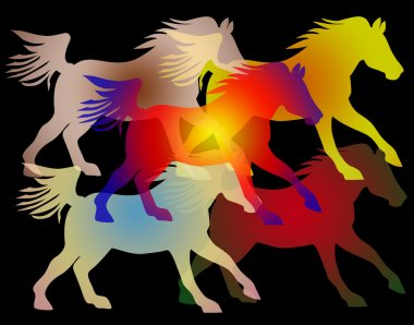 ian background image of colorful galloping horses on black, a seamless pattern
