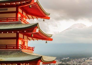 Red Pagoda And Japan Mount Fuji