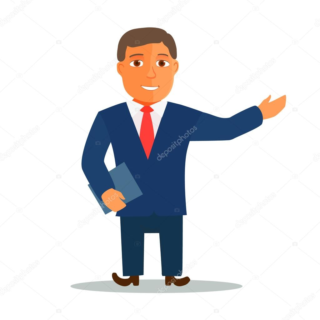 Cartoon Characters In Suits : Businessman cartoon character in blue suit vector — stock