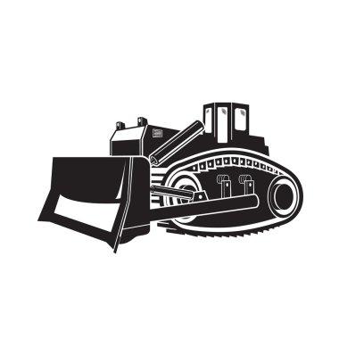 Bulldozer illustration isolated on white background. Vector