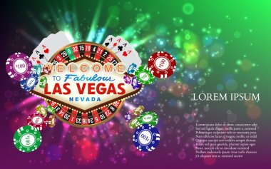 Casino Roulette witn Falling Chips