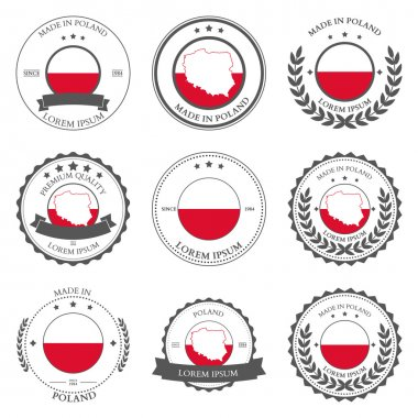 Made in Poland, seals, badges. Vector illustration