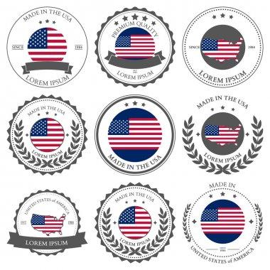 Made in USA, seals, badges. Vector illustration