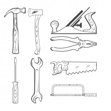 Vintage Style Vector Hand Tools for Construction