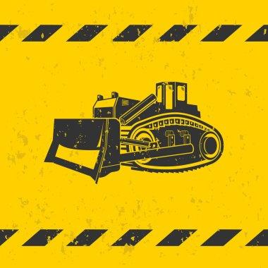 Bulldozer illustration on yellow background