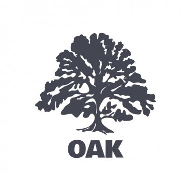 Oak Tree Logo Silhouette isolated. Vector illustration stock vector