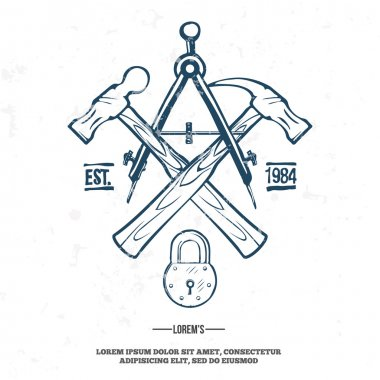 Vintage carpentry tools, label and design elements vector