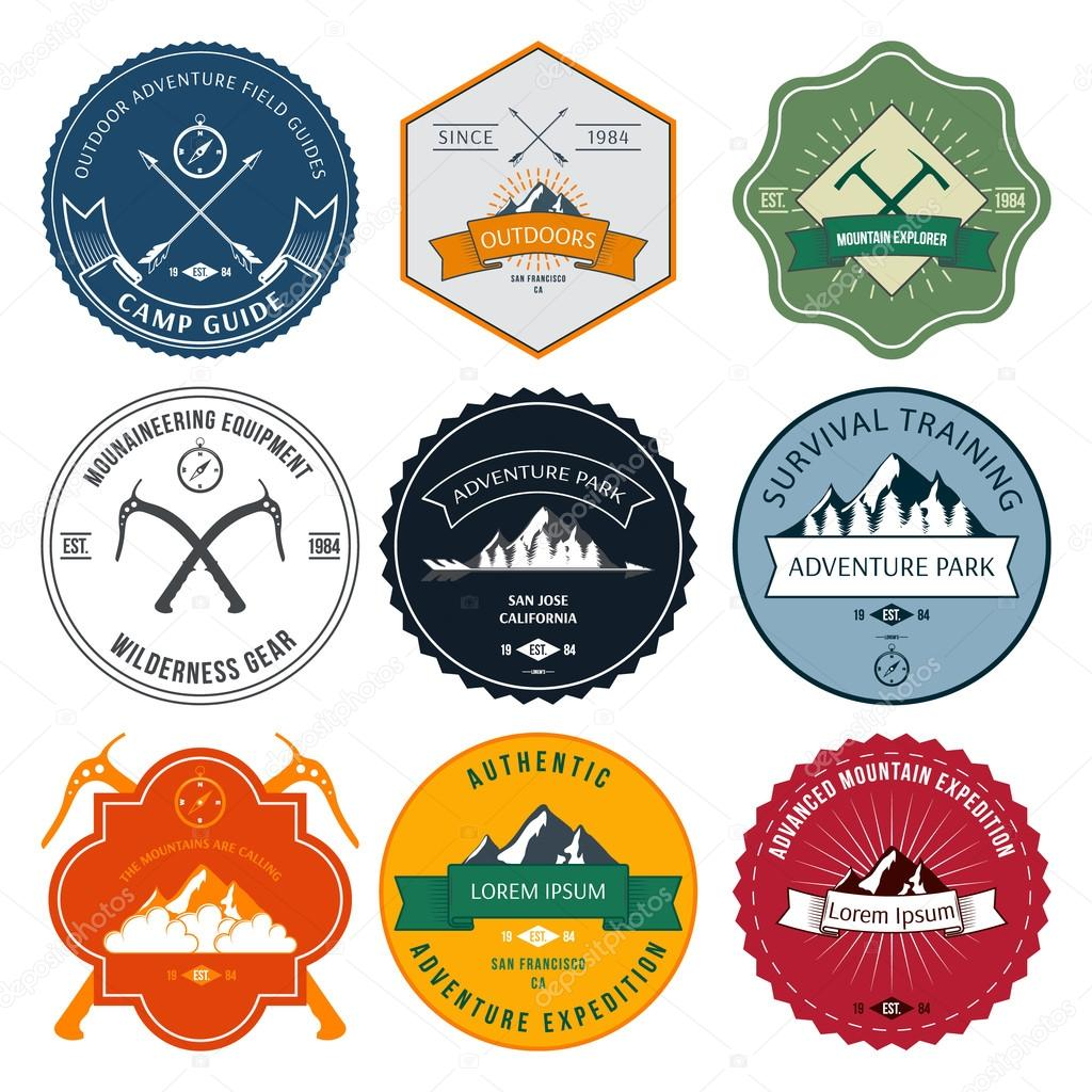 Camping mountain adventure hiking explorer equipment labels set